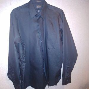 Men's Long sleeve dress shirt sateen black